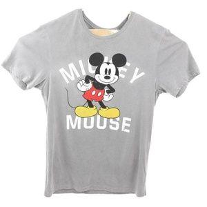 Disney Mens Graphic Tee Dark Shadow Gray Mickey Mo